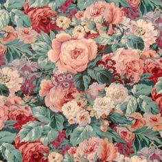 Dusky pink roses & leaves - Floral and Chintz - Fabric  XXX P.M.