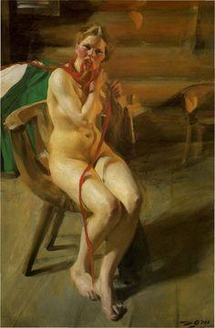 Anders Zorn, Femme nue se coiffant