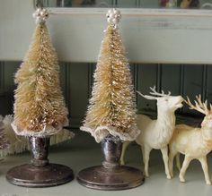 Bottle Brush Christmas Trees / Vintage Silver by jmhallcuriosities