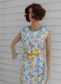Vintage 60s Dress Print Butterfly Butterflies by soulrust on Etsy, $39.99