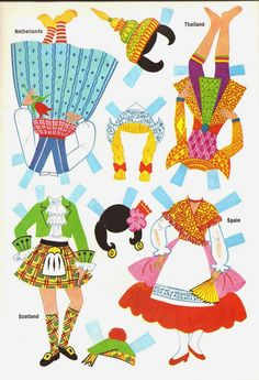 DOLLIES GO 'ROUND THE WORLD  Netherlands, Scotland, Spain, Thailand* 1500 free paper dolls for small Christmas gits and DIY for Pinterest pals The International Paper Doll Society Arielle Gabriel artist ArtrA Linked In QuanYin5 *