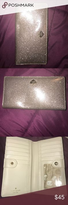 NWOT KATE SPADE ♠️ SILVER GLITTER WALLET WALLET So cute! Used once, just got a bigger wallet.. kate spade Bags Wallets