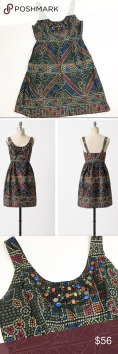 Anna Sui for Anthropologie Tesserae Dress Anna Sui for Anthropologie Tesserae Dress in size 6. Great condition! The only flaw is that the hook at the top of the zipper has disconnected (see photo). Measurements: height/length: about 37 inches; bust: about 17 inches. Anthropologie Dresses