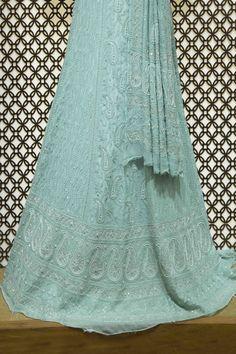 Ada #handembroidered #mintgreen  #puregeorgette  #lucknowi #chikankari #lehenga  Set- A405333