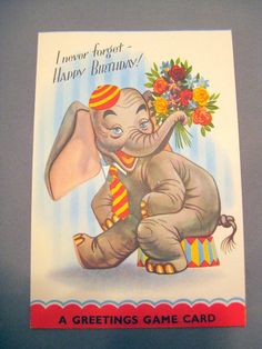 Vintage Elephant Birthday Card with Game  by TheVintagePineapple, $4.00