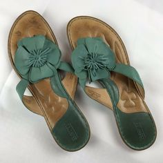 29baca5e9 Born Womens Sandals Leather Flats Slides Sz 12 EU 44 Seafoam Green Flower  Accent