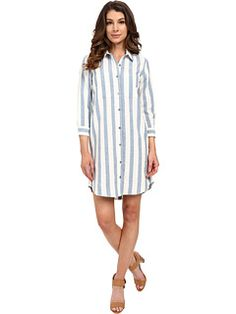 7 For All Mankind Striped Shirtdress in Light Blue/White