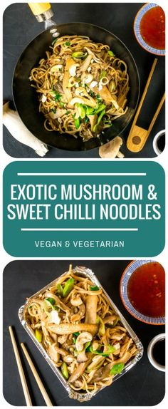 These Exotic Mushroom & Cashew Sweet Chilli Noodles are so quick and easy to make, and taste incredible. Crunchy cashews and sweet chilli sauce add to the texture and spice! Vegan and Vegetarian Best Vegan Recipes, Vegan Dinner Recipes, Asian Recipes, Vegetarian Recipes, Cooking Recipes, Healthy Recipes, Vegetarian Dinners, Savoury Recipes, Savoury Dishes