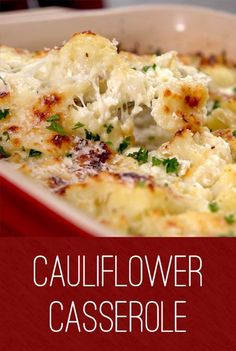 Cauliflower Casserole Recipe Add a healthy twist to your casserole with this easy to make dish. The kids will appreciate the cheesy goodness, while grown-ups will appreciate the bonus serving of veggies. Parmesan, mozzarella and milk add the creaminess Veggie Dishes, Vegetable Recipes, Food Dishes, Vegetarian Recipes, Cooking Recipes, Healthy Recipes, Chicken Recipes, Healthy Food, Good Salad Recipes