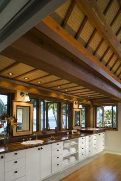 tropical bathroom by Ike Kligerman Barkley Bamboo Ceiling, Tropical Bathroom, Look Dark, Hawaii Homes, Budget Bathroom, Dream Bathrooms, Bath Design, Decorating On A Budget, Sweet Home