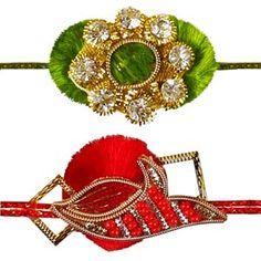 Zardozi Rakhi - Set of 2: This splendid pair of rakhis are artistically handmade using zardozi, color beads and diamonds neatly hand-woven with thread to give these rakhis a colorful look. Costs Rs 426/- http://www.tajonline.com/rakhi-gifts/product/rdr65/zardozi-rakhi-set-of-2/?aff=pinterest2013/