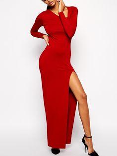 63f2ca6d8d Red Oblique V Neck High-Slit Dress -SheIn(abaday) High Slit Dress