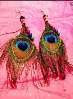 Feather Earrings, Drop Earrings, Radha Rani, Peacock, Jewelery, Bohemian, Flower Jewelry, Trending Outfits, Unique Jewelry