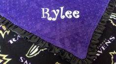 Personalized Baltimore Ravens Football Minky and Fleece Baby Blanket with ruffles or satin trim, binding