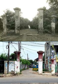 Hoofdpoort en oprijlaan van landhuis Leenhoff's Weergade aan de Mookervaart (Tangerangsche weg) te Batavi, ca 1930, ,., Gerbang di Kebon Besar, jl Daan Mogot, Tangerang, 2018