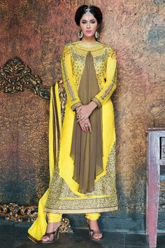 Light coffee, yellow Georgette and Net, semi stictch anarkali churidar suit. Round neck, Below knee length, full sleeves kameez. Yellow santoon churidar. Yellow chiffon dupatta with lace border with work. http://www.andaazfashion.com/salwar-kameez/churidar-suits/occasion/party-wear-churidar-suits