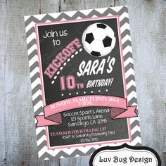 SOCCER Birthday Party Printable by luvbugdesign on Etsy, $14.00