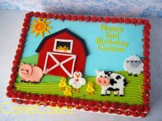 Cute farm sheet cake