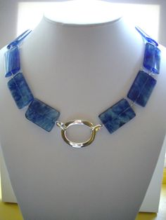 SALE Blue Swirl Square Glass Bead Necklace by DesignsbyPattiLynn, $40.00
