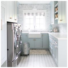 Soft pastel + cement tile in laundry