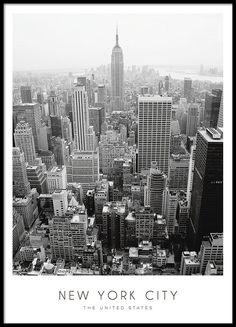Zwart-witte New York poster