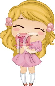 iCLIPART - Royalty Free Clip Art Image of a Girl With a Valentine's Day Cake