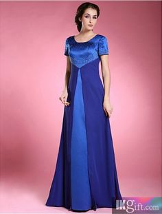 elegant A-line Scoop Floor-length Satin And Chiffon Mother of the Bride Dress