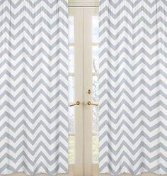 Chevron Gray and White Window Panel Curtains