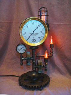 Steampunk Brass Steam Gauge Gears Lamp Machine Age Industrial Art Gear Light | eBay