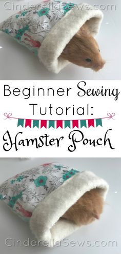 Sewing For Beginners Projects Beginner Sewing Tutorial - Easy Hamster Bed Pouch is a 15 sewing minute project perfect for your fur baby Hamsters, Gerbil, Sewing Hacks, Sewing Tutorials, Sewing Tips, Sewing Ideas, Sewing Crafts, Diy Crafts, Teddy Hamster