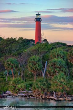 Nice pastel colors of the Jupiter Inlet Lighthouse along te waterway taken from Catos Bridge. HDR image created in EasyHDR and Topaz software.