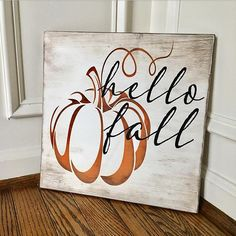 Items similar to Hello Fall Rustic Wooden Sign on Etsy This hand-painted wide by tall hello fall sign is custom made to order. Each sign is custom-designed, distressed, hand-painted, and stained. Since each piece of the sign and frame Fall Wood Signs, Fall Signs, Fall Pallet Signs, Fall Decor Signs, Holiday Signs, Autumn Painting, Autumn Art, Fall Paintings, Fall Projects