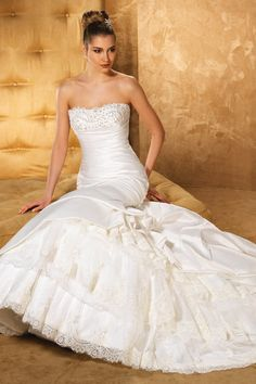 Ivory Beaded Drop Waist Eddy K Fit-n-flare Floor Lace Mermaid Pick Ups Ruffles Strapless Taffeta Wedding Dresses Photos & Pictures - WeddingWire.com
