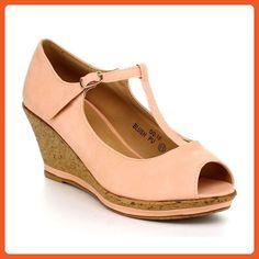 dca65e3f244 BellaMarie QQ-10 Women MaryJane Peep Toe T-Strap Sandal Cork Platform Wedge  Pump