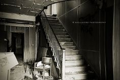 Abandoned School Hallway Print, Wall Decor, Urban Exploration, Staircase, Empty Chair, Black & WHite, Fine Art Photography, Various Sizes