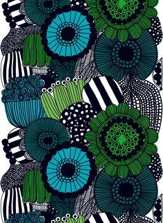 Siirtolapuutarha heavyweight cotton (white,green,black) | Fabrics, Cottons…