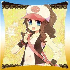 Size: 40 X 40 CM Set of: 1 Weight: 960 g Pokemon Hilda, Black Pokemon, Pokemon Images, Love Photos, Anime, Princess Zelda, Black And White, Pillows, Gallery