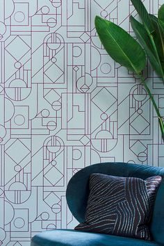 #wallpaper #walldecor #graphicwallpaper Wallpaper Art Deco, Flock Wallpaper, Bold Wallpaper, Graphic Wallpaper, Wallpaper Samples, Pattern Wallpaper, Motifs Art Nouveau, Art Deco Stil, Grey Pattern