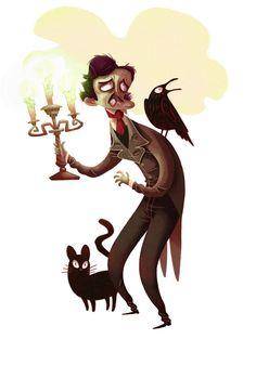 * Edgar Allan Poe by Tim Mack Illustration Edgar Allan Poe, Character Art, Character Design, Allen Poe, Fanart, Victorian Goth, Macabre, Illustration Art, Book Illustrations