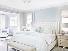 Baby blue room decor soft light blue master bedroom with blue pillow touches baby blue bedroom decorating ideas Baby Blue Bedrooms, Blue Master Bedroom, Blue Bedroom Walls, Bedroom Colors, Master Suite, Gray Walls, Master Bedrooms, Trendy Bedroom, Cozy Bedroom
