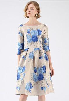 ff40484dcf0d6 Maternity Striped Shawl Softest Sweaters. See more. Blue Enchantress  Jacquard Midi Dress Blue And White Dress, Elegant Dresses, Pretty Dresses,