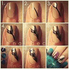 Peacock feather nail tutorial