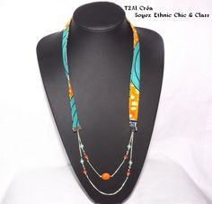 www.cewax.fr love this statement necklace ethno tendance, style ethnique, #Africanfashion, #ethnicjewelry - CéWax aussi fait des bijoux : http://www.alittlemarket.com/collier/fr_collier_ethnique_en_wax_tissu_africain_beige_marron_envoi_0e_-9876417.html - Sautoir en tissu pagne, Couleur orange, jaune : Collier par t2al-crea