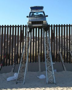 Smugglers at the US-Mexico border got stuck at the top of this makeshift ramp