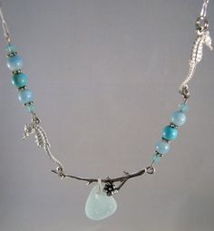 Sea HorseTwig Necklace with Sea Glass Tear  & Beach by deblane144, $30.00