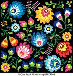 Vecteur - floral, polonais, folklorique, art, modèle - Banque d'illustrations, illustrations libres de droits, banque de clip art, icônes clipart, logo, image EPS, images, graphique, graphiques, dessin, dessins, image vectorielle, oeuvre d'art, art vecteur EPS