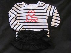 Jumping Beans Circo Black White Red Striped Love Top Black Ruffled Skirt 24 Mont #JumpingBeans #Everyday