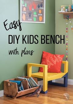 So cute! Learn how to make a DIY Kids bench using $10 in lumber. Easy quick beginner project! This diy kids bench seat is perfect for indoors or outdoors. #anikasdiylife #woodworking #kidsfurniture