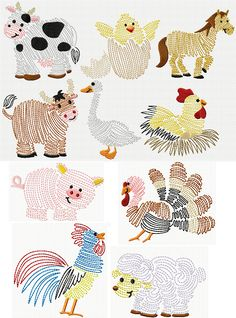 Swirly Farm Friends sketch designs  Cow chicken rooster turkey pig horse sheep
