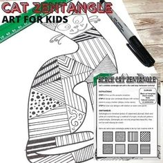 Scare up the fun this Halloween with a zentangle black cat art activity. Draw zentangle patterns onto our free cat printable. This makes a great activity for your kids in the elementary classrooms and at home for an October activity. Halloween Activities For Kids, Fun Crafts For Kids, Halloween Fun, Art For Kids, Kindergarten Activities, Art Activities, Cat Template, Spider Crafts, Black Cat Art